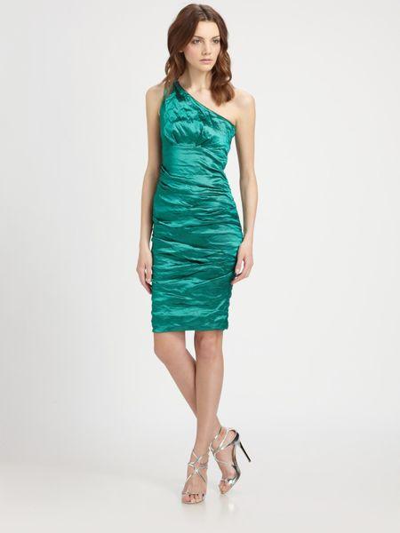 Nicole Miller Oneshoulder Dress in Green (emerald)
