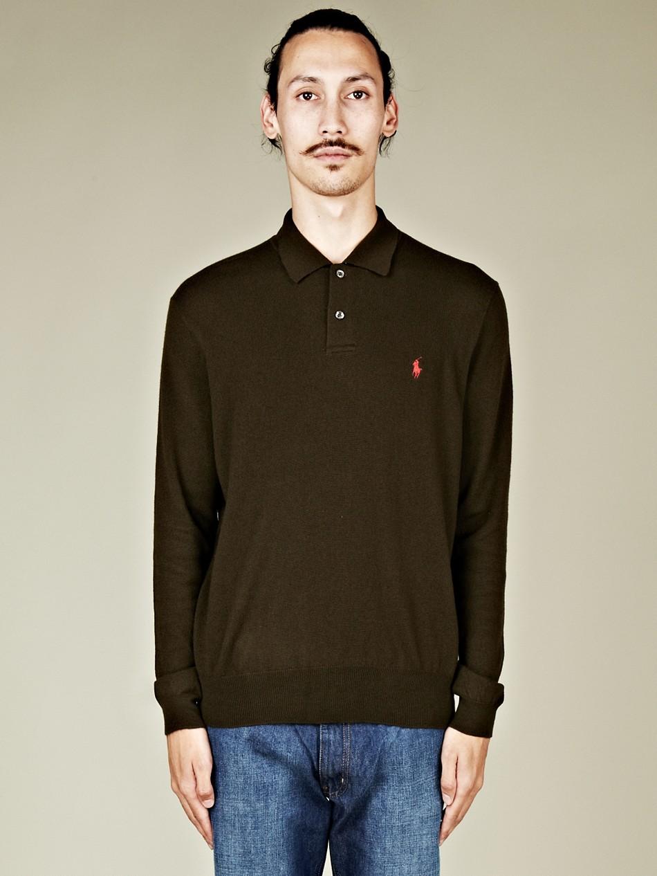... polo ralph lauren long sleeve knit polo shirt ...
