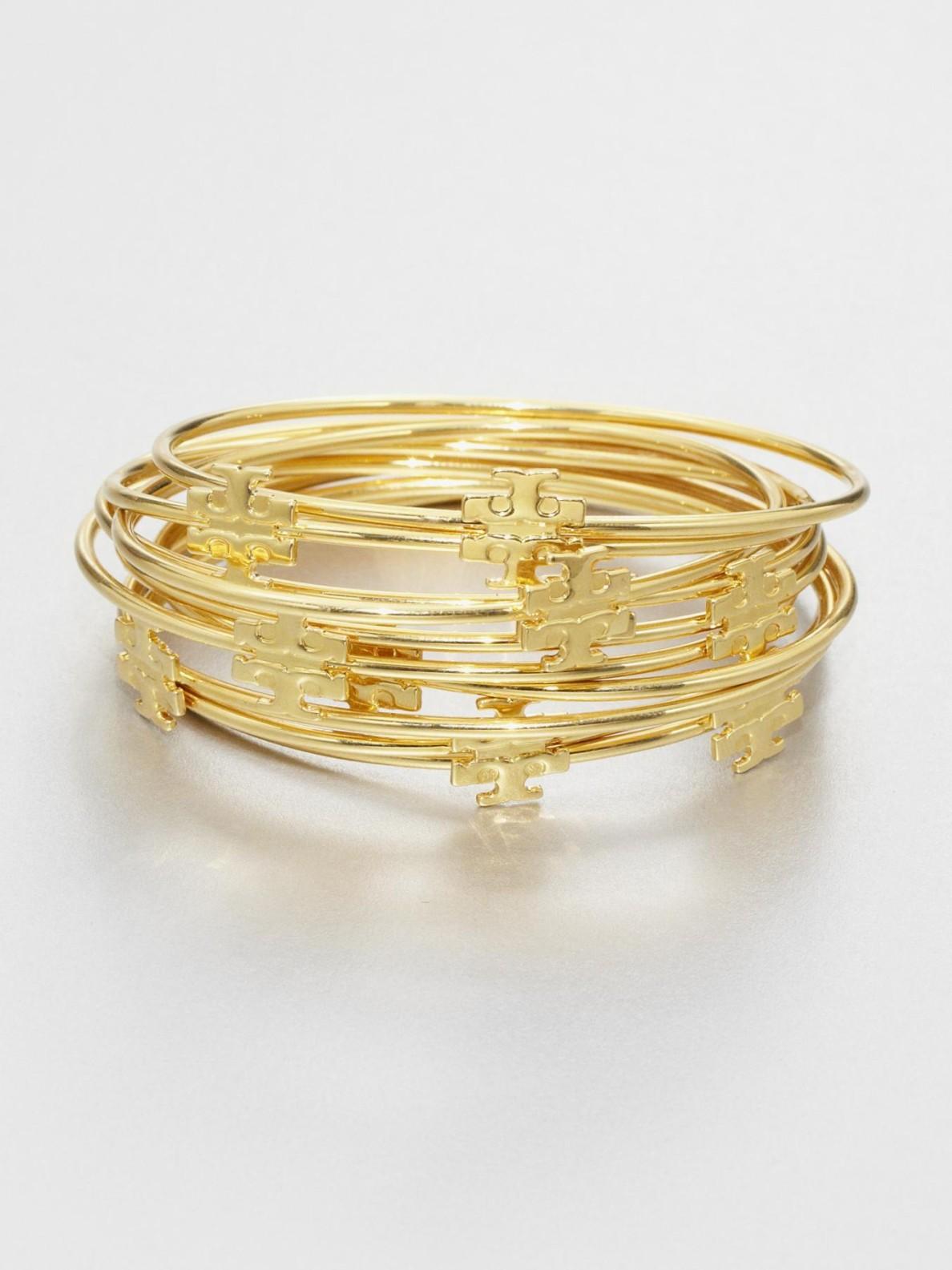 Lyst Tory Burch Logo T Bangle Bracelet Set In Metallic
