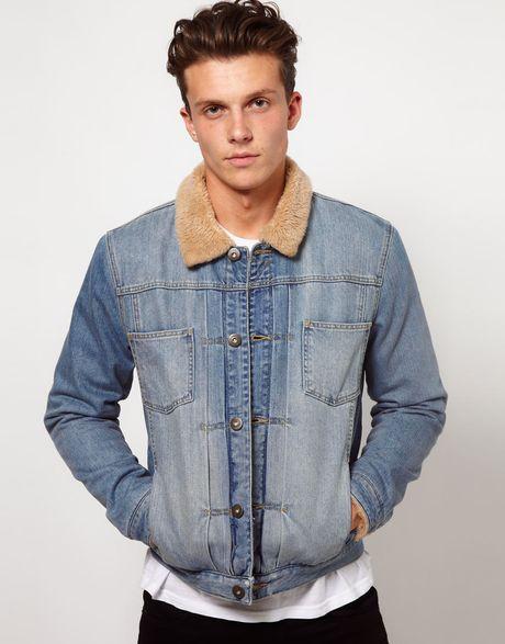 asos denim jacket with borg collar in blue for men lyst. Black Bedroom Furniture Sets. Home Design Ideas