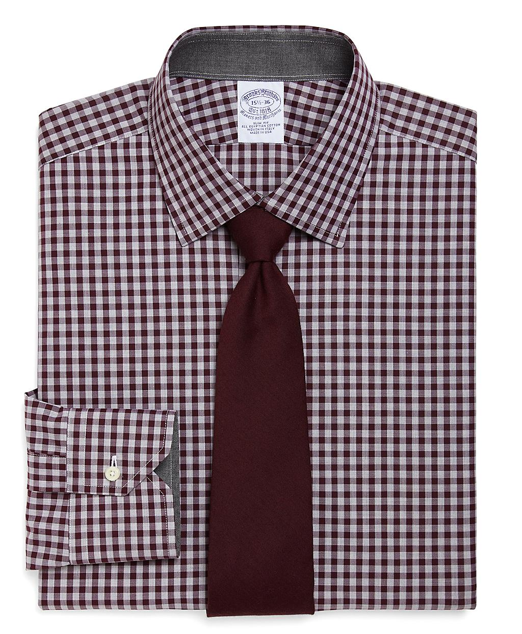 Brooks brothers allcotton slim fit heathered gingham for Brooks brothers dress shirt fit
