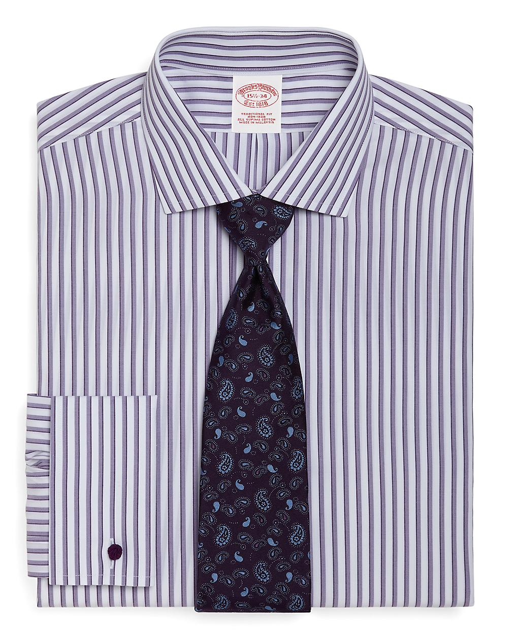 Brooks brothers supima cotton noniron traditional fit for Purple french cuff dress shirt