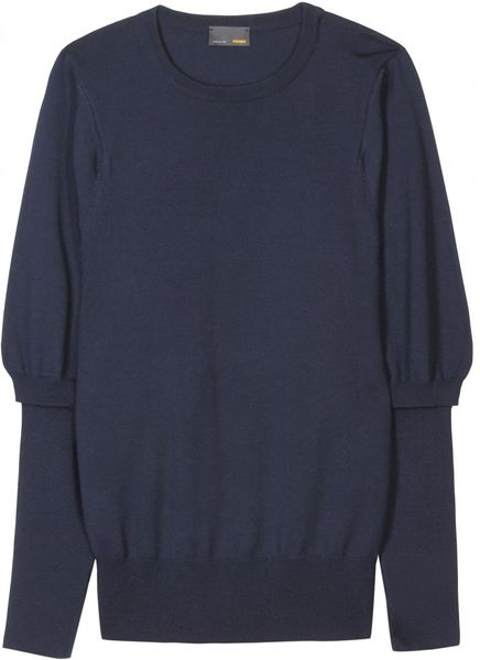 Fendi Knit Pullover with Ribbed Trim in Blue (navy)