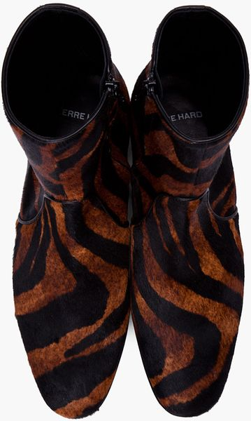 pierre hardy tiger print calfhair boots in animal for men