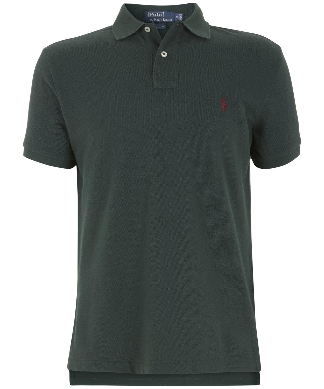 Lyst polo ralph lauren dark green custom fit mesh polo for Custom tailored polo shirts