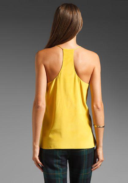 Tibi Solid Silk Cami In Yellow Mustard Lyst