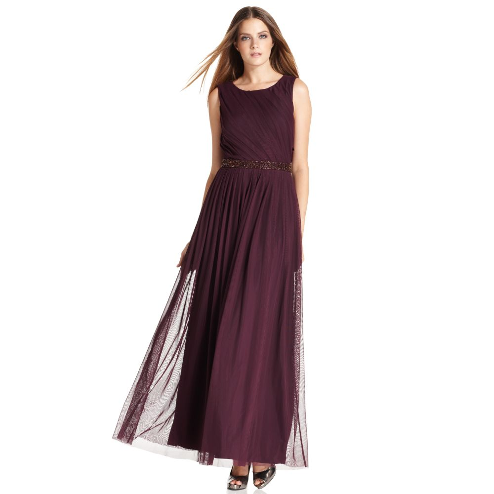 Lyst Calvin Klein Sleeveless Pleated Beaded Evening Gown In Purple