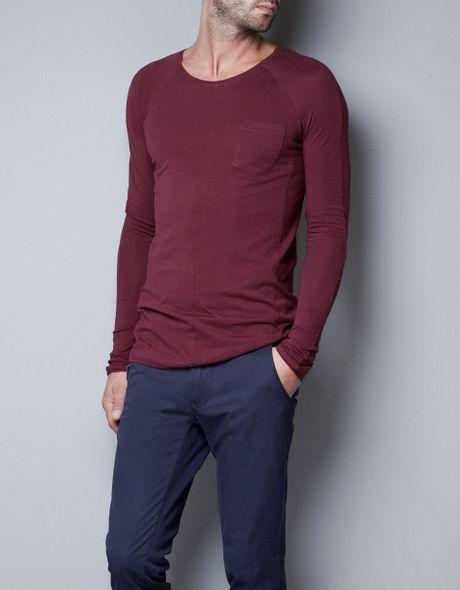 Zara pima cotton t shirt in purple for men maroon lyst for Zara mens shirts sale