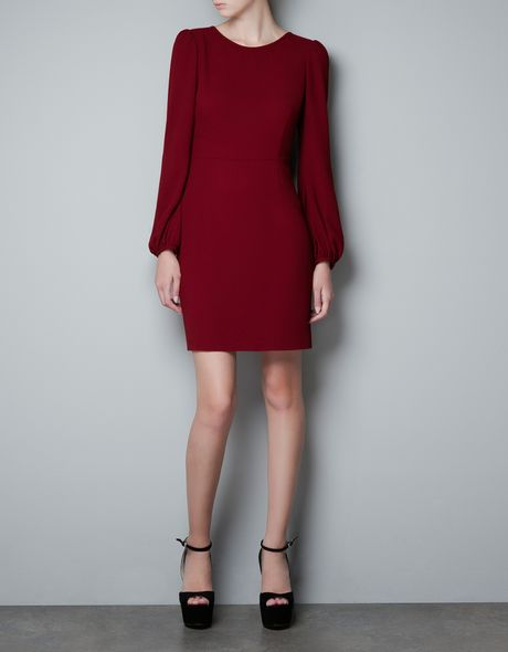 Zara Puff Sleeve Dress in Red (maroon)