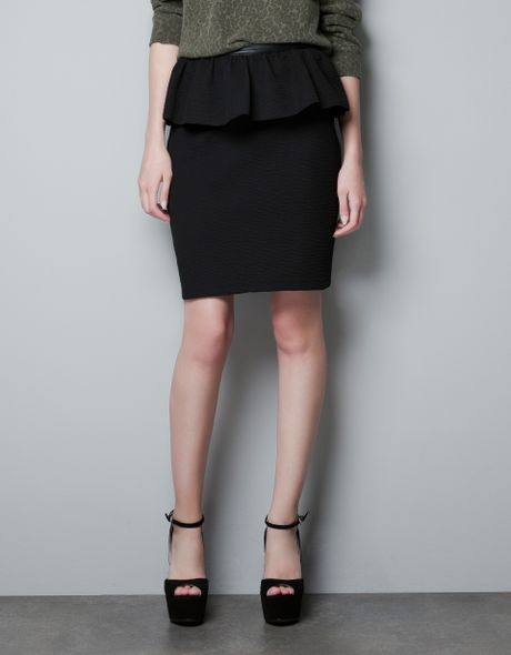 zara peplum skirt with faux leather waistband in black