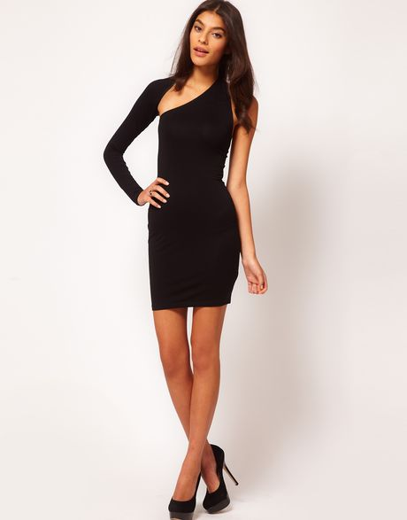 Asos Bodycon Dress With One Sleeve In Black Lyst