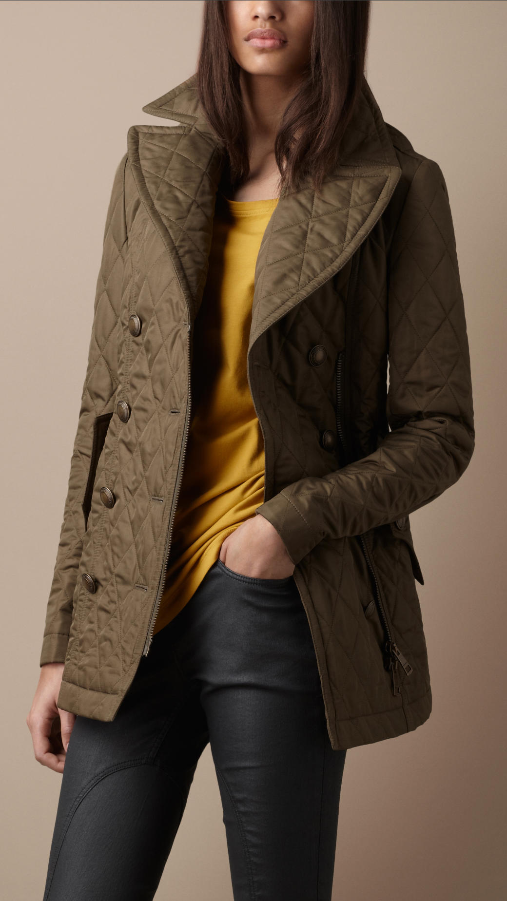 Burberry brit Quilted Pea Coat in Green | Lyst : quilted pea coat - Adamdwight.com