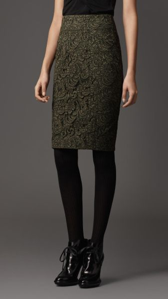 burberry lace pencil skirt in green khaki green lyst