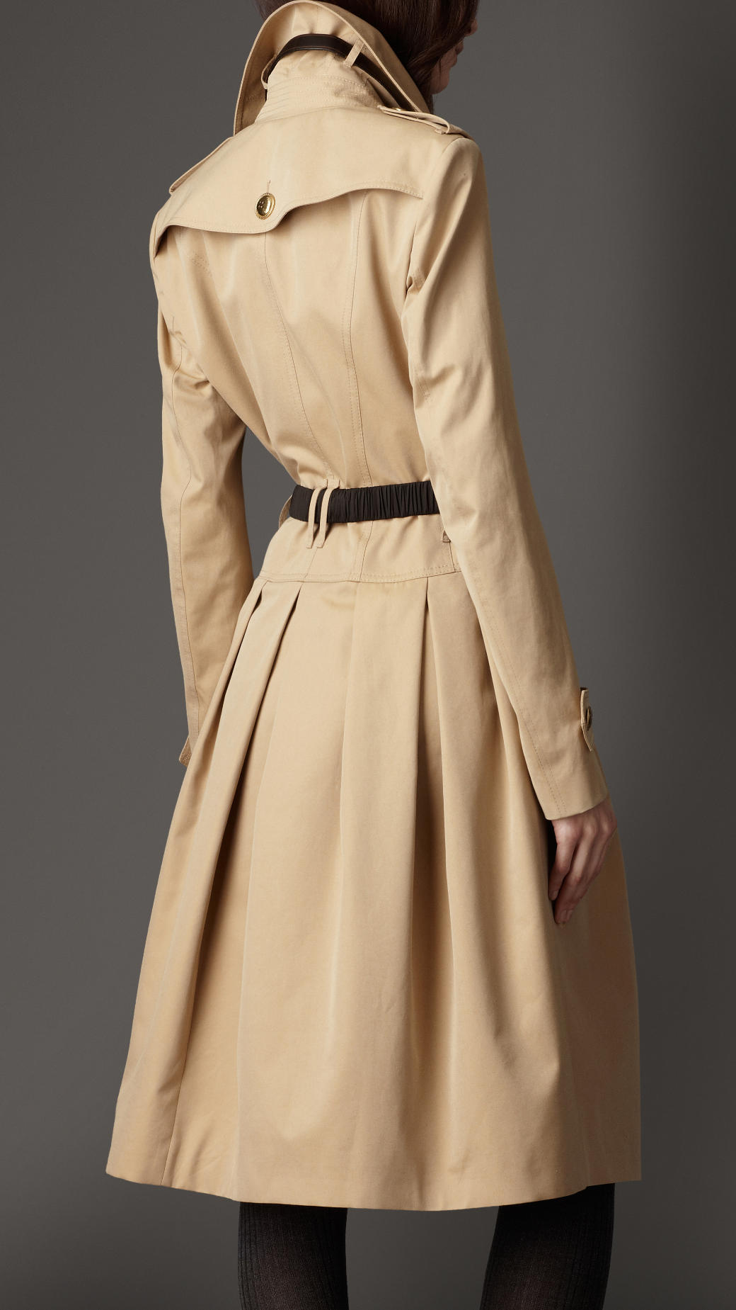 Lyst Burberry Long Cotton Gabardine Leather Trim Trench