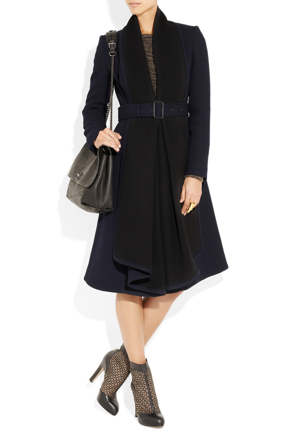 Burberry Prorsum Woolcrepe Coat In Blue Lyst