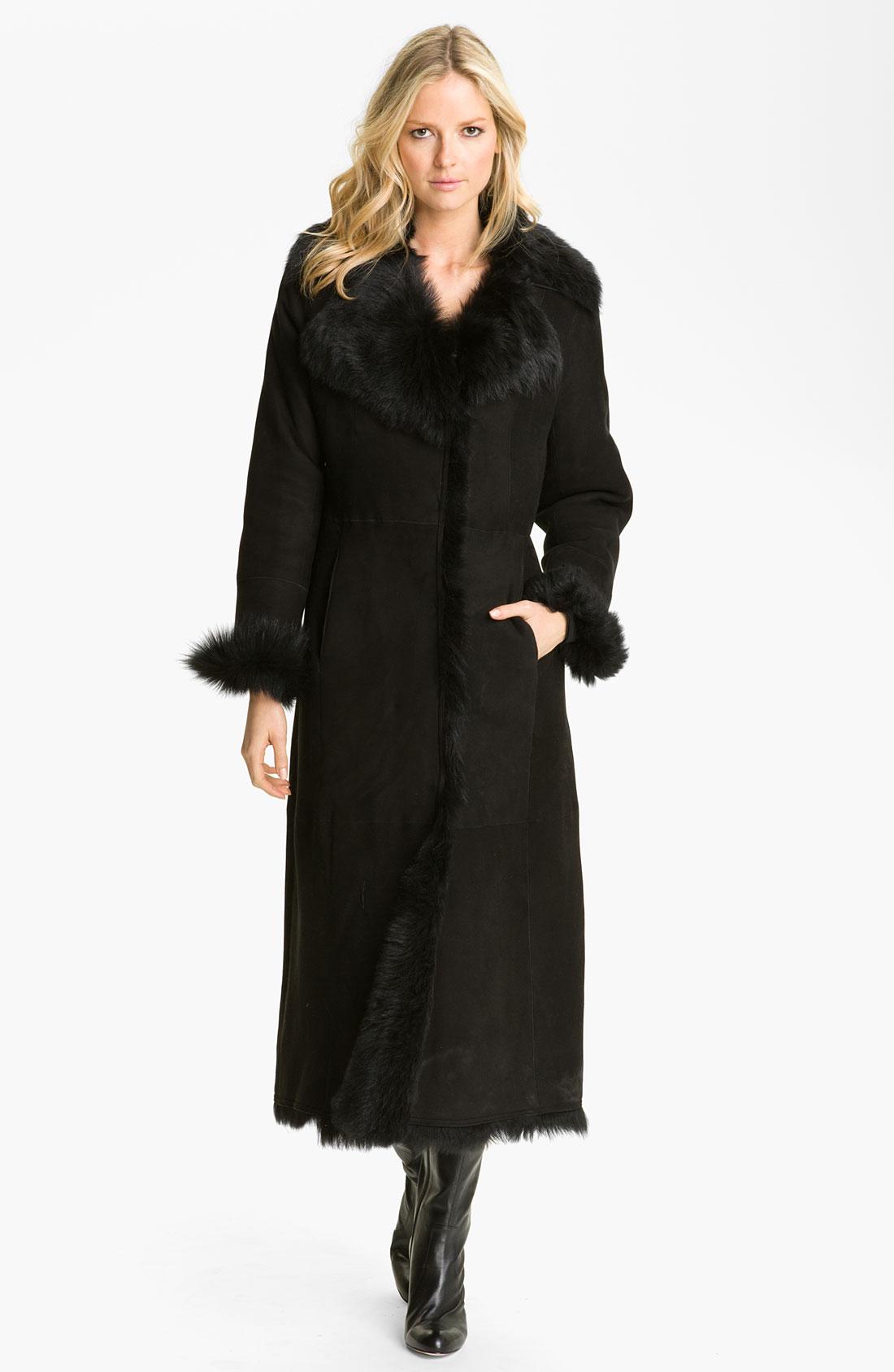 Cole haan Long Shearling Coat in Black | Lyst