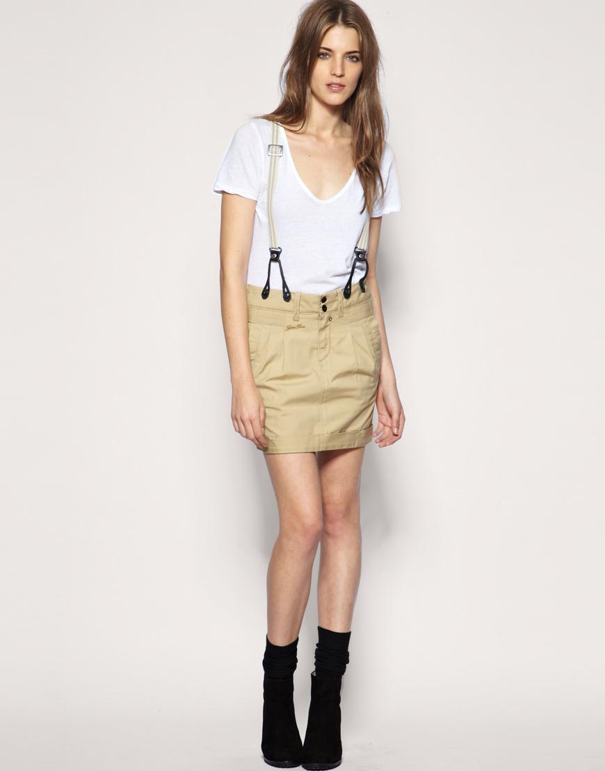 g star raw gstar tailored chino mini skirt in beige lyst. Black Bedroom Furniture Sets. Home Design Ideas