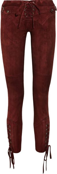 Isabel Marant Eden Stretchsuede Skinny Pants in Purple (burgundy)
