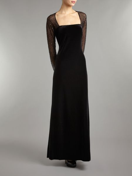 Js Collections Long Sleeve Velvet Beaded Mesh Maxi Dress