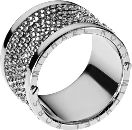 michael kors pave barrel ring in silver 7 lyst