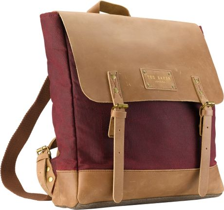 ted baker ted baker canruk wax canvas backpack red in red. Black Bedroom Furniture Sets. Home Design Ideas