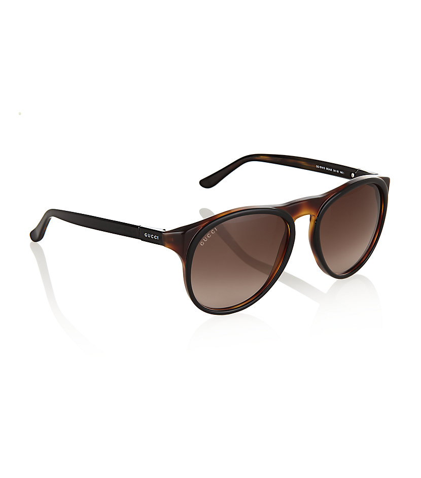 0bab4ed32f231 Gucci Tortoiseshell Round Sunglasses in Brown - Lyst