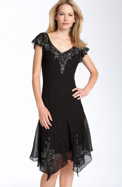 J Kara Beaded Flutter Sleeve Chiffon Dress In Black Black