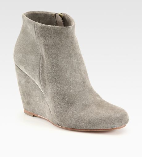 joie suede wedge ankle boots in gray dovegrey lyst