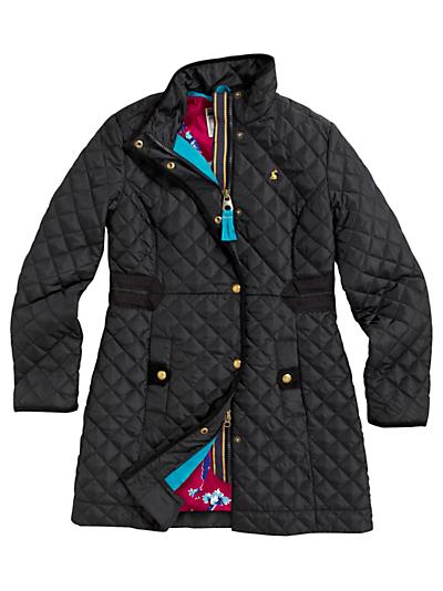 Joules Joules Fairhurst Long Quilted Coat Black In Black