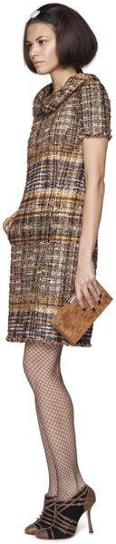 Oscar De La Renta Metallic Tweed Short Sleeve Tunic Dress