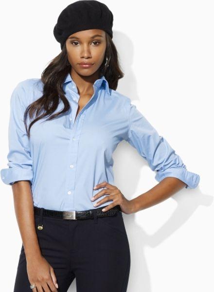 Lauren Blue Label Tiffany Stretch Poplin Shirt in Blue (elite blue