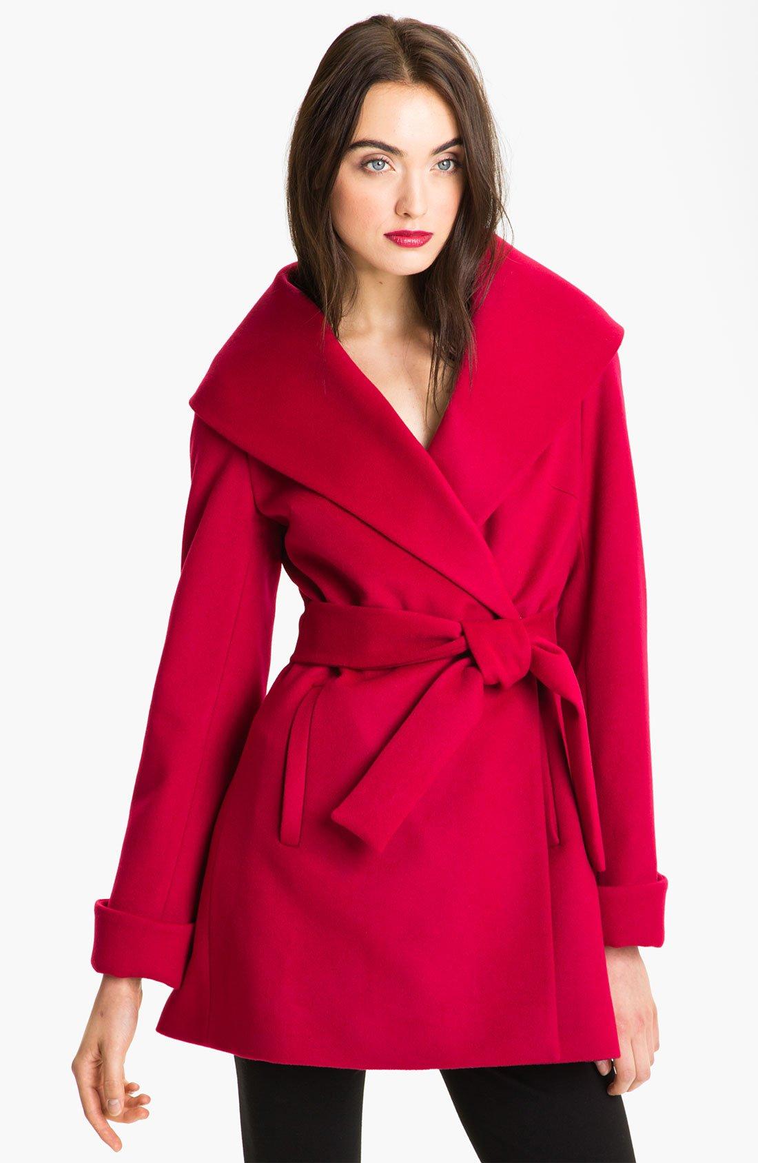 Trina turk Ali Wrap Coat in Black (red)