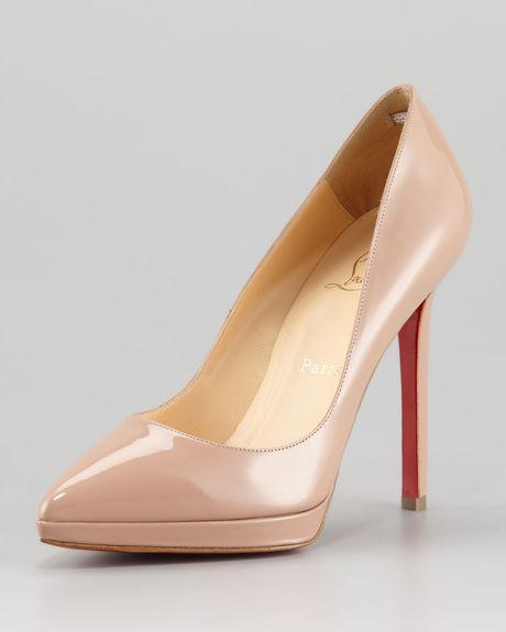 Christian Louboutin Pigalle Patent Platform Red Sole Pump in Beige (nude)