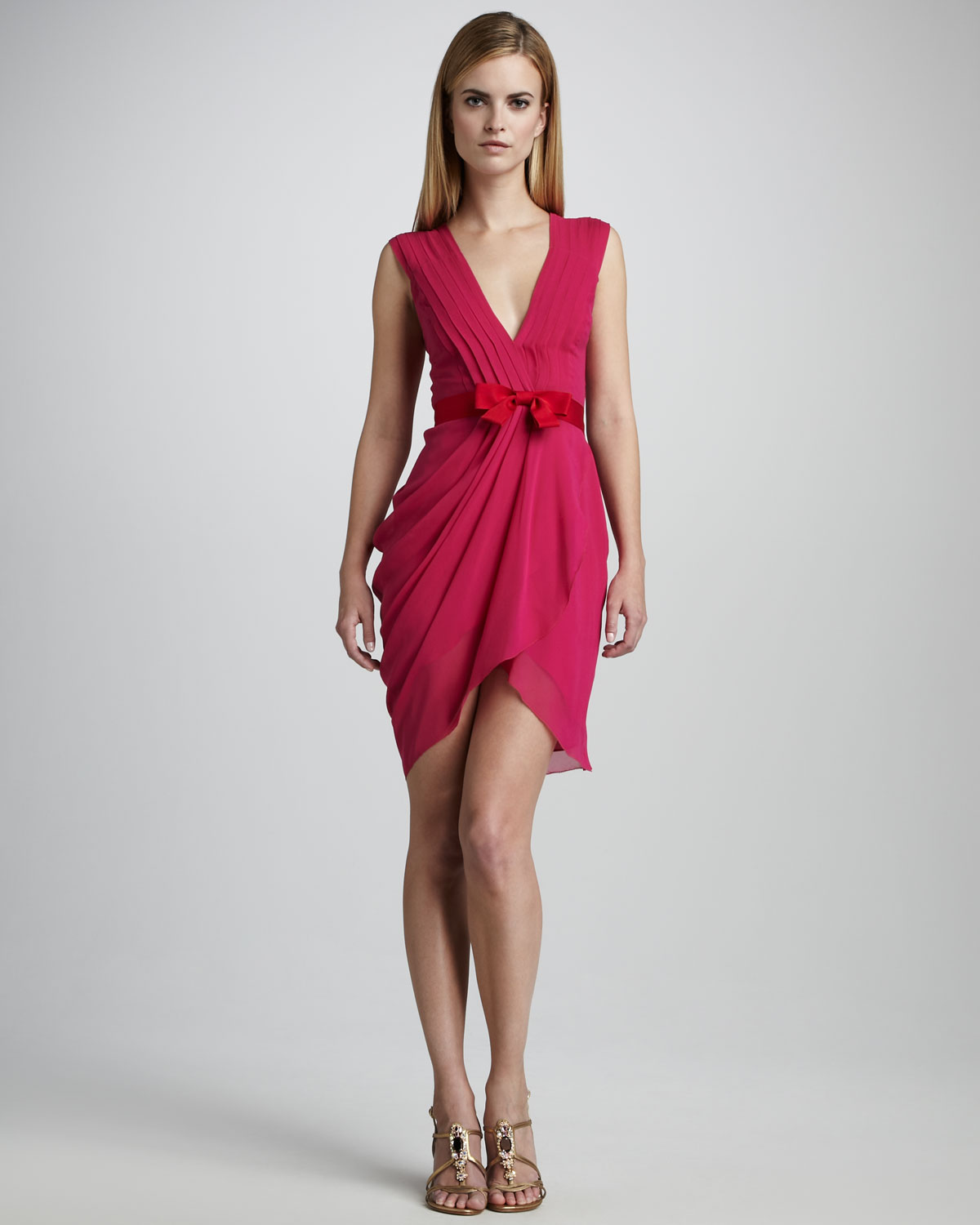 Lyst - Vera Wang Lavender Draped Fitted Cocktail Dress in Pink