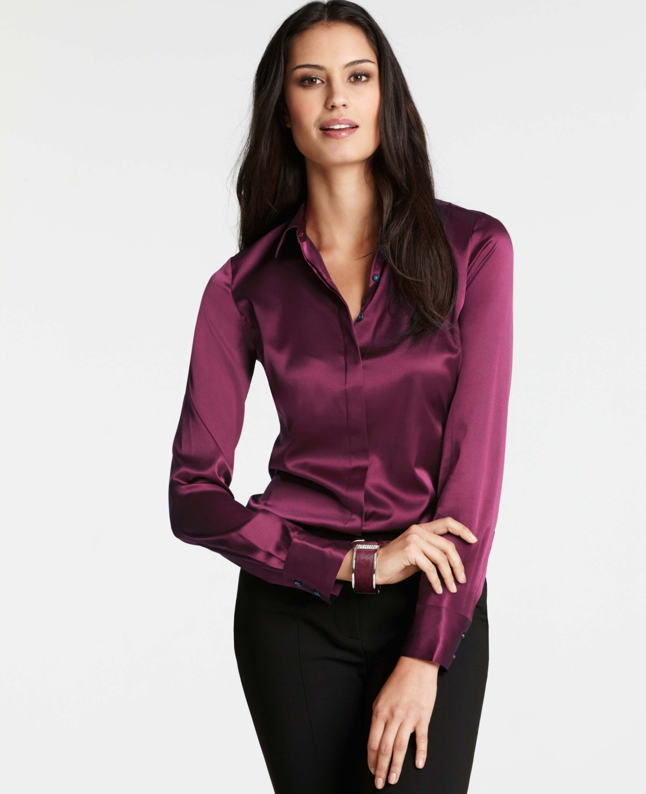 Ann Taylor Silk Legacy Blouse In Purple Rich Pomegranate