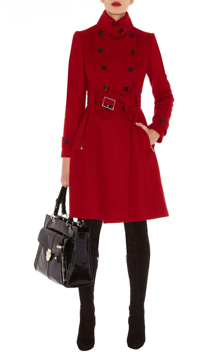 Karen millen Classic Investment Coat in Red | Lyst