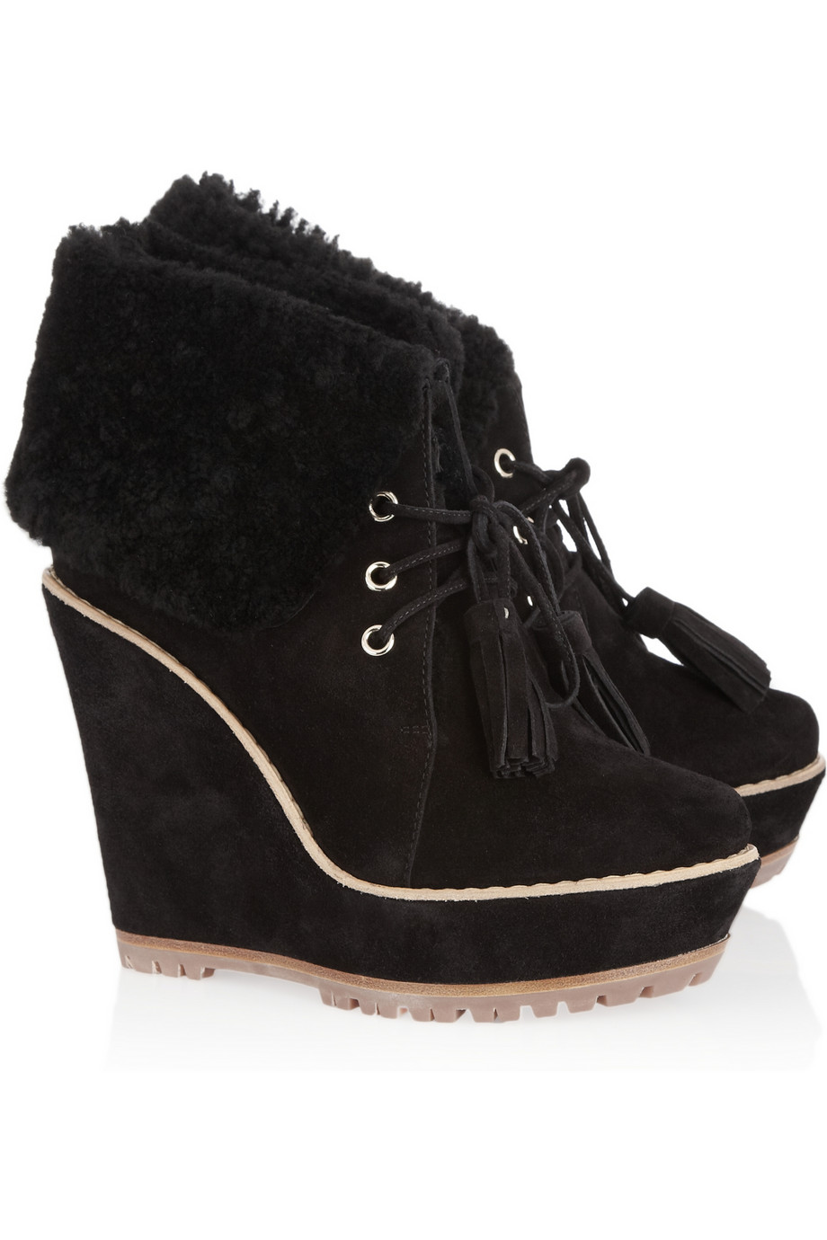 mulberry suede wedge ankle boots in black lyst