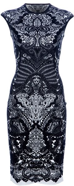 Alexander Mcqueen Fitted Paisley Dress in Black