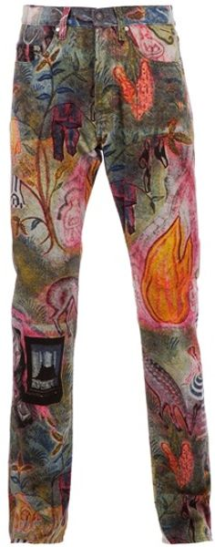 Dries Van Noten Printed Jeans - Lyst