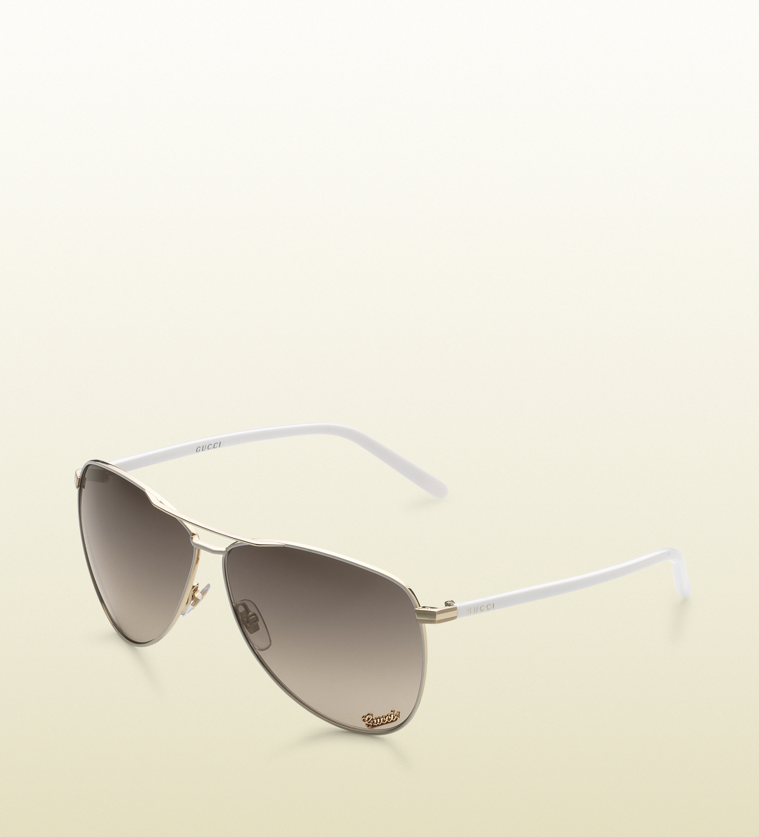 ef14782192 Gucci Aviator Sunglasses with Gucci Signature Pad On Lens and Gucci ...
