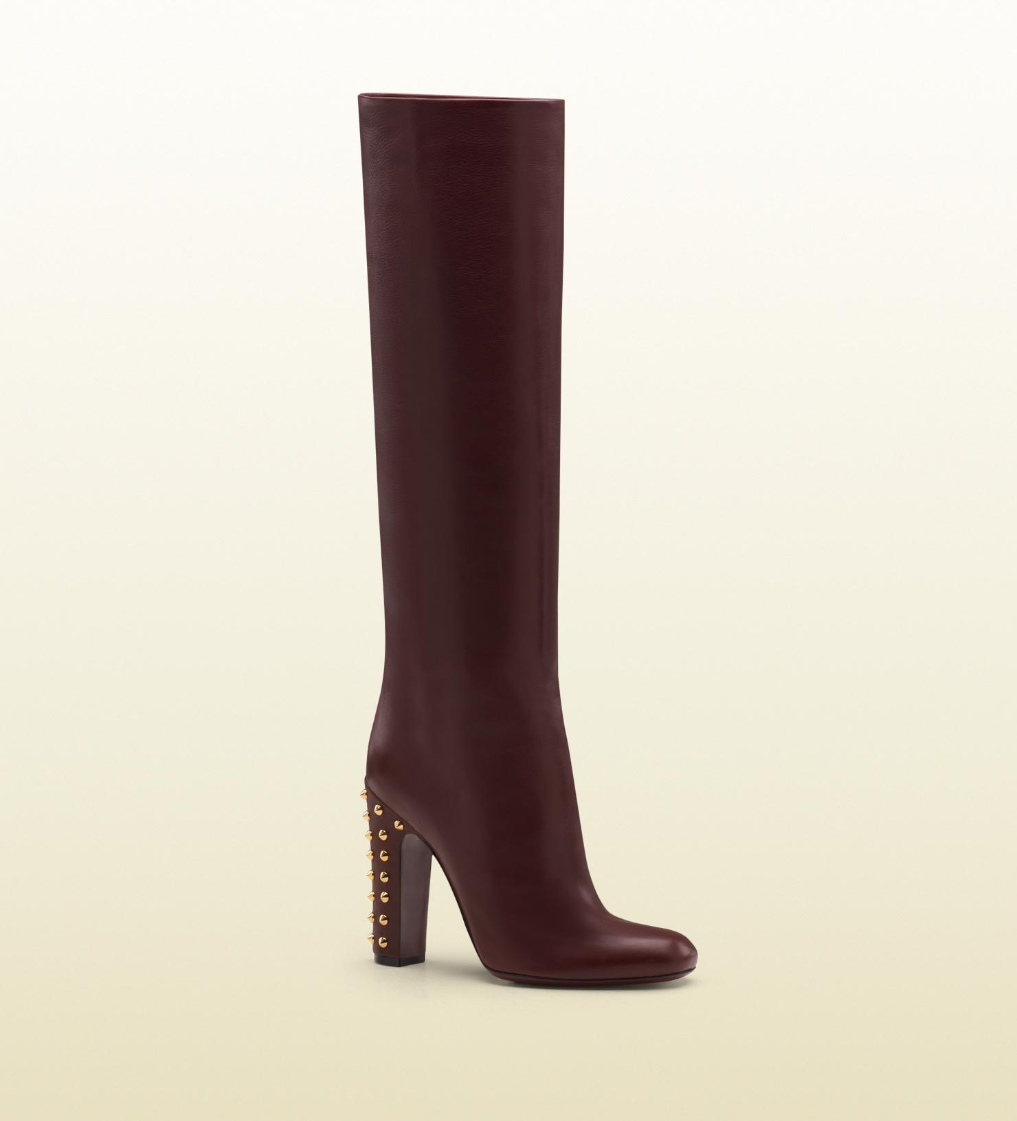 607136cfb Gucci Jacquelyne Studded Mid Heel Tall Boot in Red - Lyst
