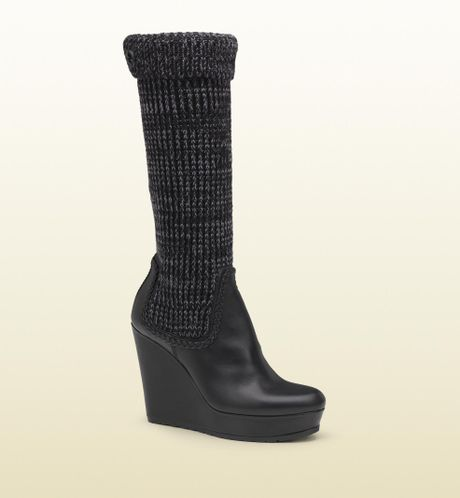 gucci knit sock wedge boot in black lyst
