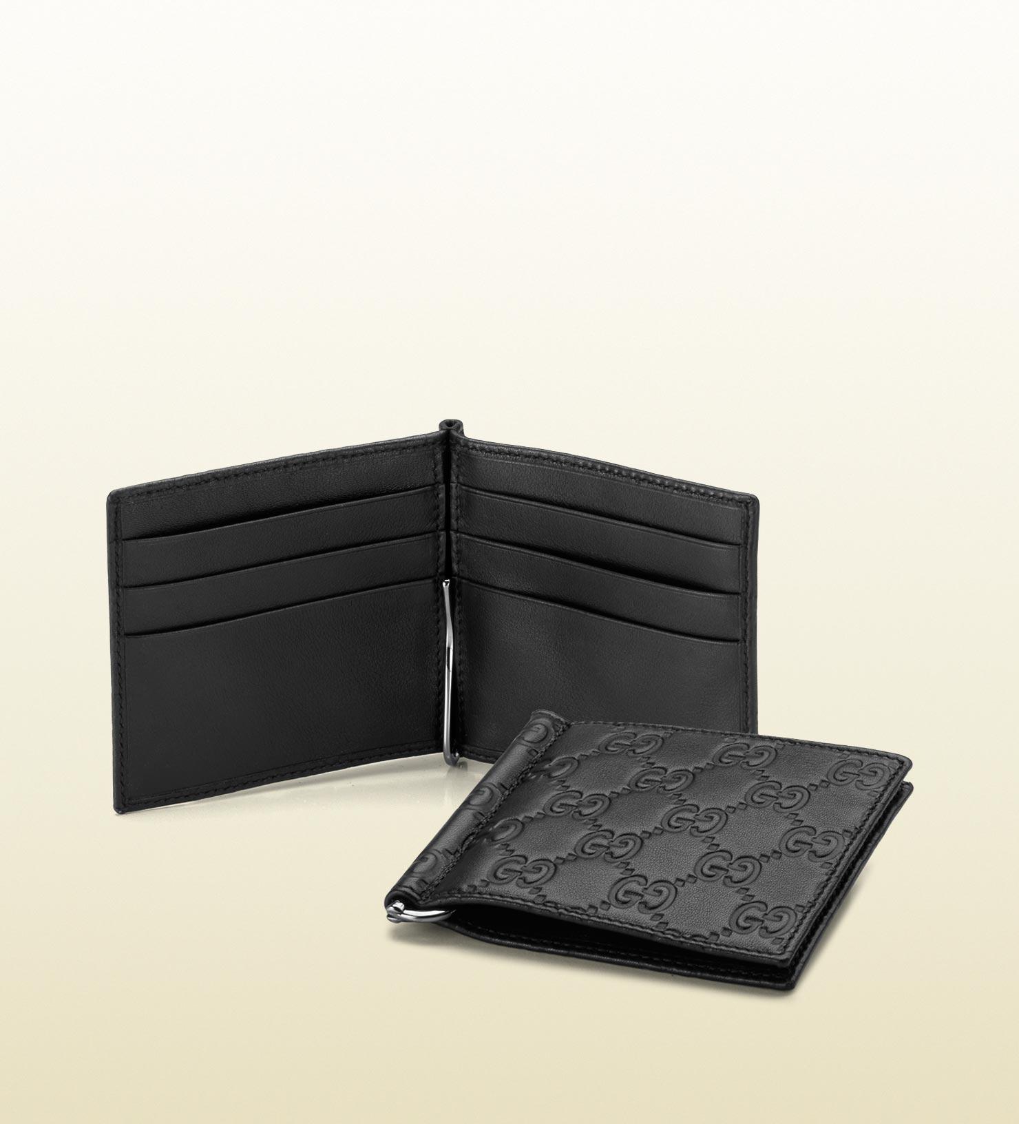 17ffc986b8de Gucci Ssima Leather Money Clip Wallet in Black for Men - Lyst