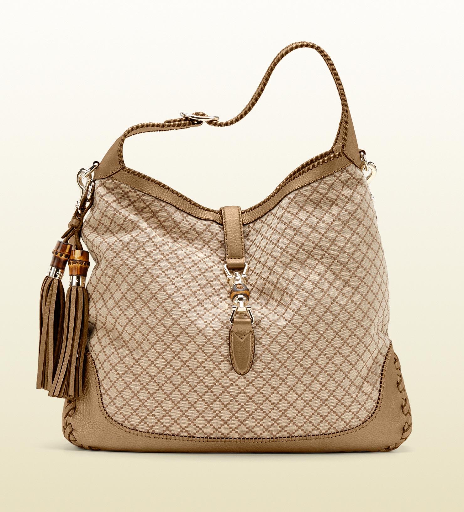 3d96096549cf7c Gucci New Jackie Diamante Canvas Shoulder Bag in Natural - Lyst