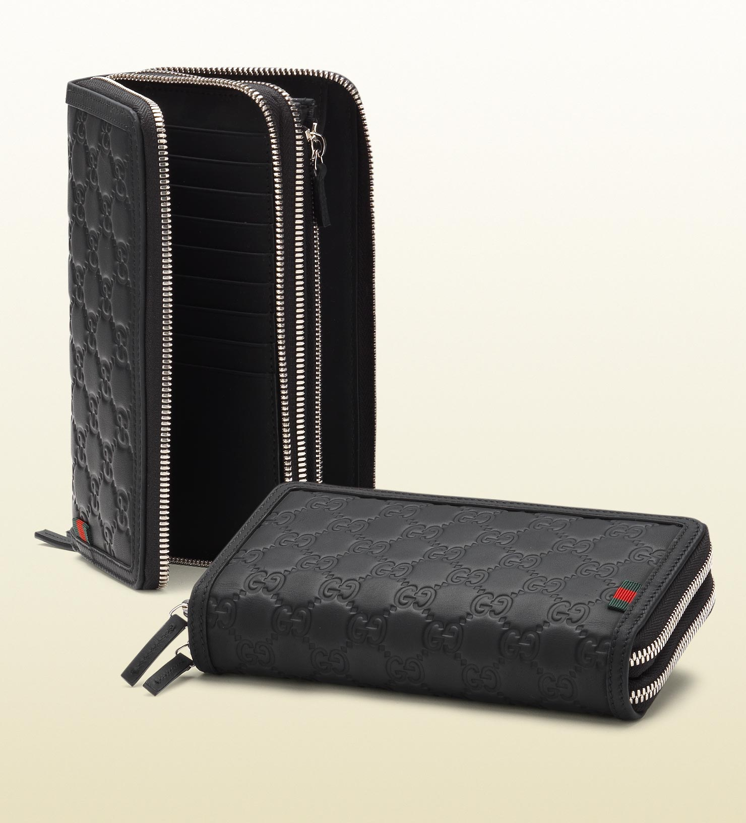 3aed11262dd Lyst - Gucci Rubber Ssima Leather Double Zip Around Wallet in Black ...