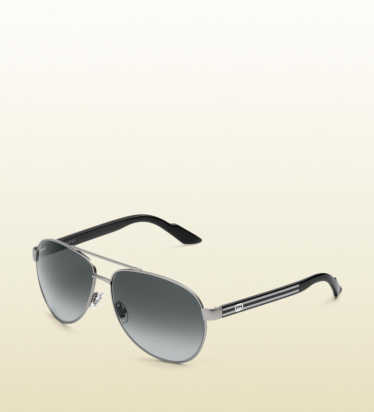 ad9a067fd00 Lyst - Gucci Small Aviator Sunglasses with GG Detail and Web On ...