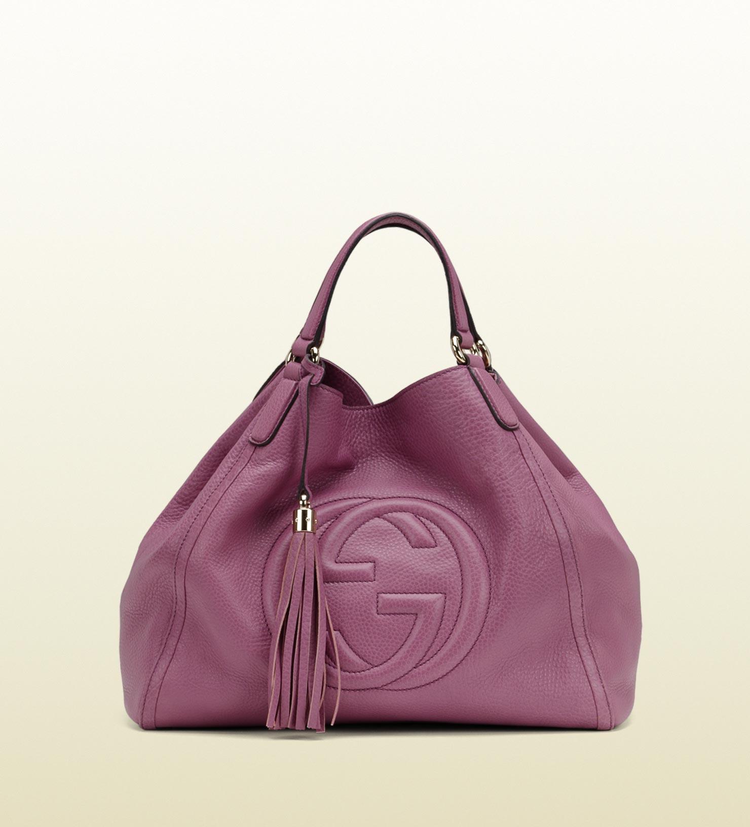 Lyst - Gucci Soho Light Sunflower Leather Shoulder Bag in Pink