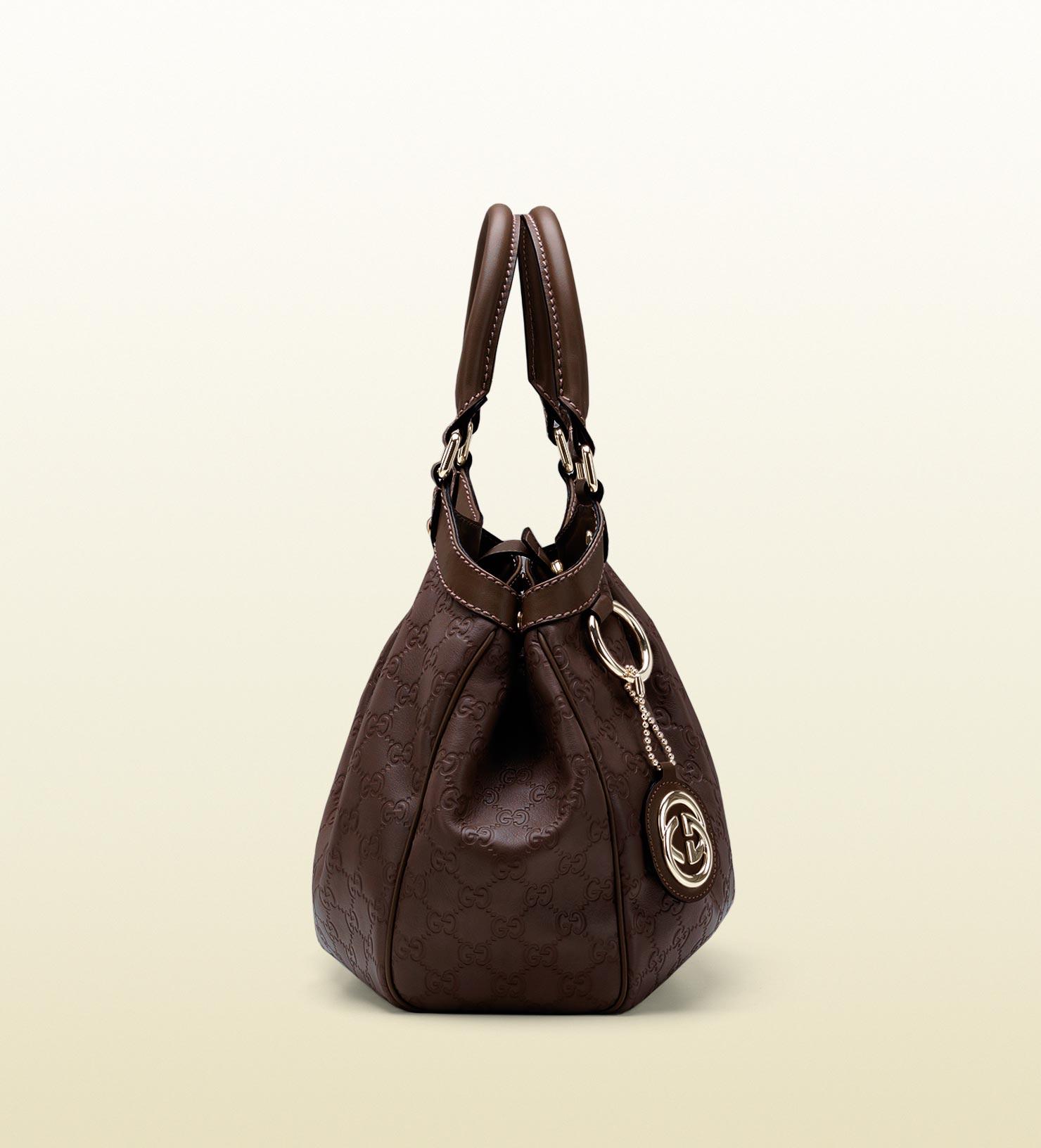 3c8a7c65730 Lyst - Gucci Sukey Medium Ssima Leather Tote in Brown