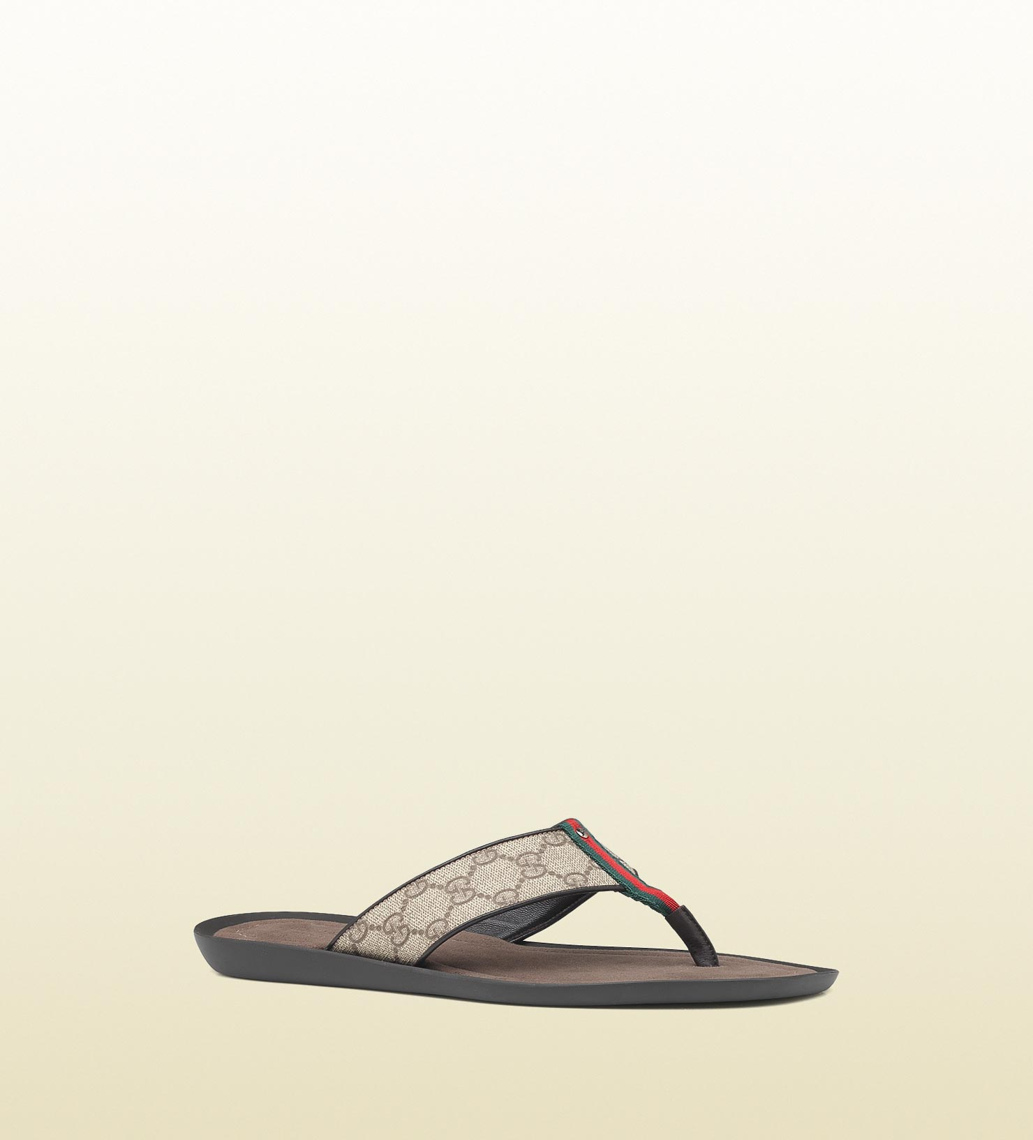 9aa76e89c6fc85 Gucci Thong Sandal with Signature Web Detail in Brown for Men - Lyst