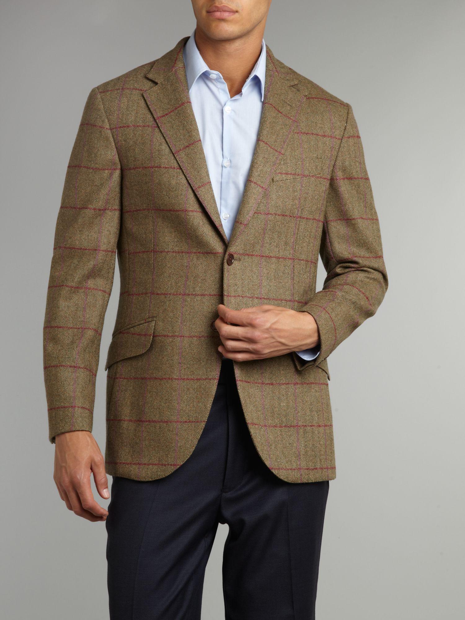Hackett Check Herringbone Jacket in Green for Men | Lyst